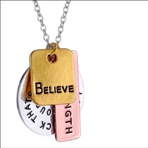 NEW Necklace Multi Charms Motivational Quote Inspiration Mix Metal Charm Jewelry